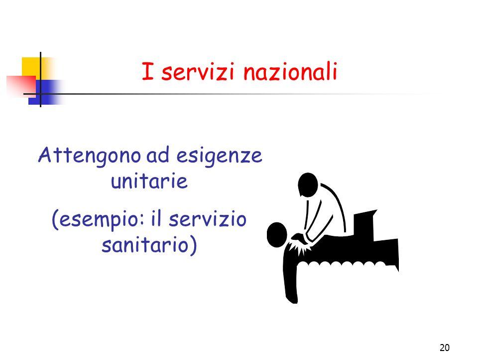 I servizi nazionali Attengono ad esigenze unitarie