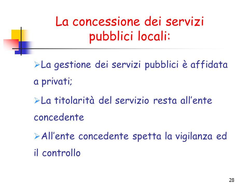 La concessione dei servizi pubblici locali: