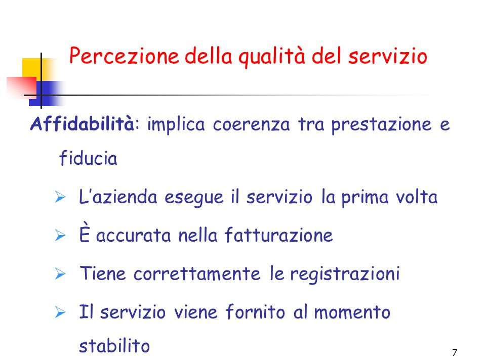 Percezione della qualità del servizio