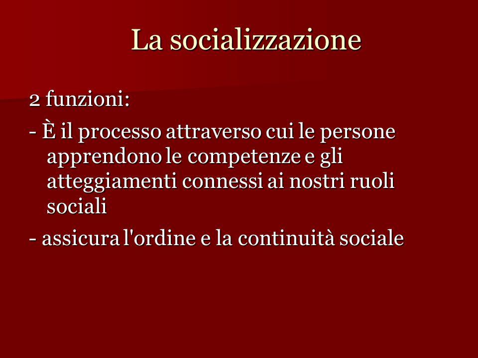 La socializzazione 2 funzioni: