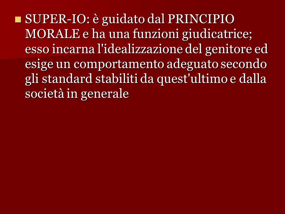 SUPER-IO: è guidato dal PRINCIPIO MORALE e ha una funzioni giudicatrice; esso incarna l idealizzazione del genitore ed esige un comportamento adeguato secondo gli standard stabiliti da quest ultimo e dalla società in generale