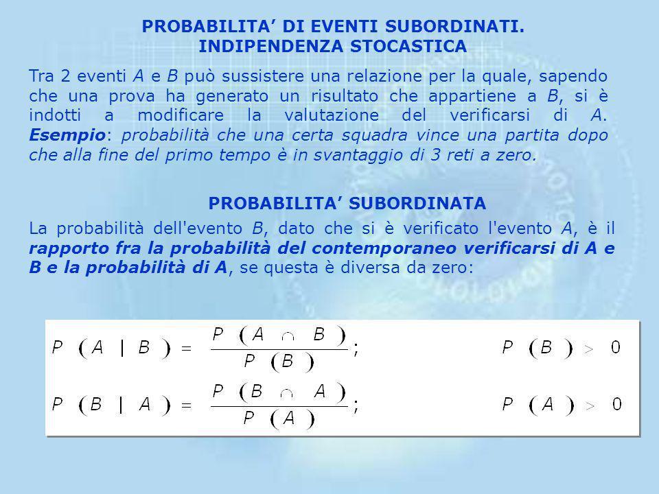 PROBABILITA' DI EVENTI SUBORDINATI. INDIPENDENZA STOCASTICA