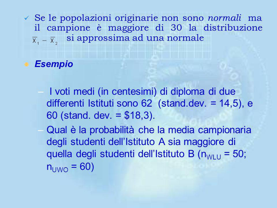 Se le popolazioni originarie non sono normali ma il campione è maggiore di 30 la distribuzione si approssima ad una normale