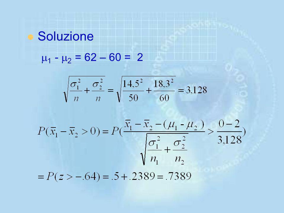 Soluzione m1 - m2 = 62 – 60 = 2