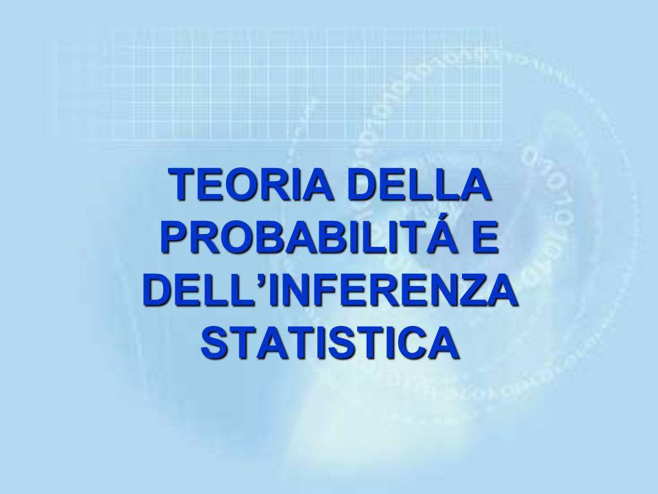 TEORIA DELLA PROBABILITÁ E DELL'INFERENZA STATISTICA