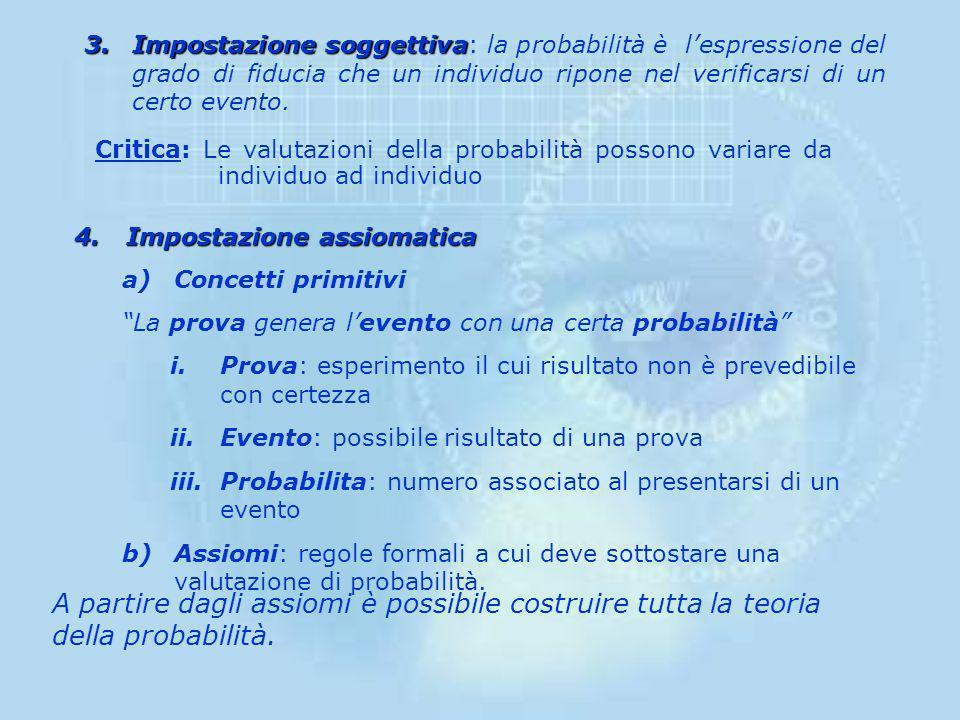 Impostazione soggettiva: la probabilità è l'espressione del grado di fiducia che un individuo ripone nel verificarsi di un certo evento.