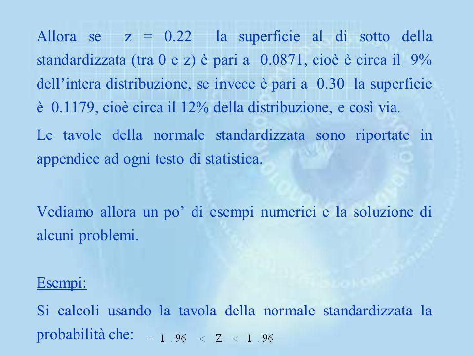 Allora se z = 0.22 la superficie al di sotto della standardizzata (tra 0 e z) è pari a 0.0871, cioè è circa il 9% dell'intera distribuzione, se invece è pari a 0.30 la superficie è 0.1179, cioè circa il 12% della distribuzione, e così via.