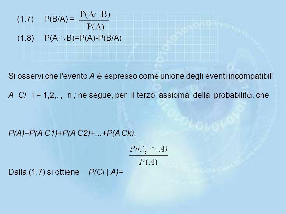 (1.7) P(B/A) = (1.8) P(A B)=P(A)-P(B/A) Si osservi che l evento A è espresso come unione degli eventi incompatibili A Ci i = 1,2,.