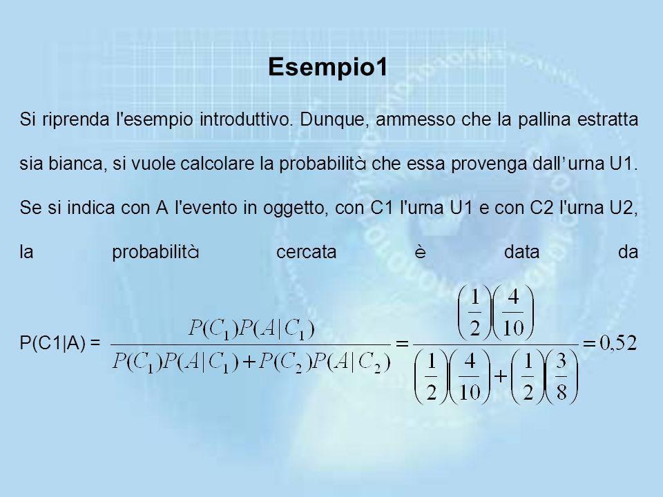 Esempio1 Si riprenda l esempio introduttivo