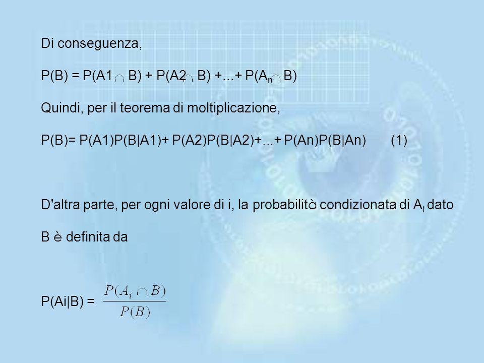 Di conseguenza, P(B) = P(A1 B) + P(A2 B) +