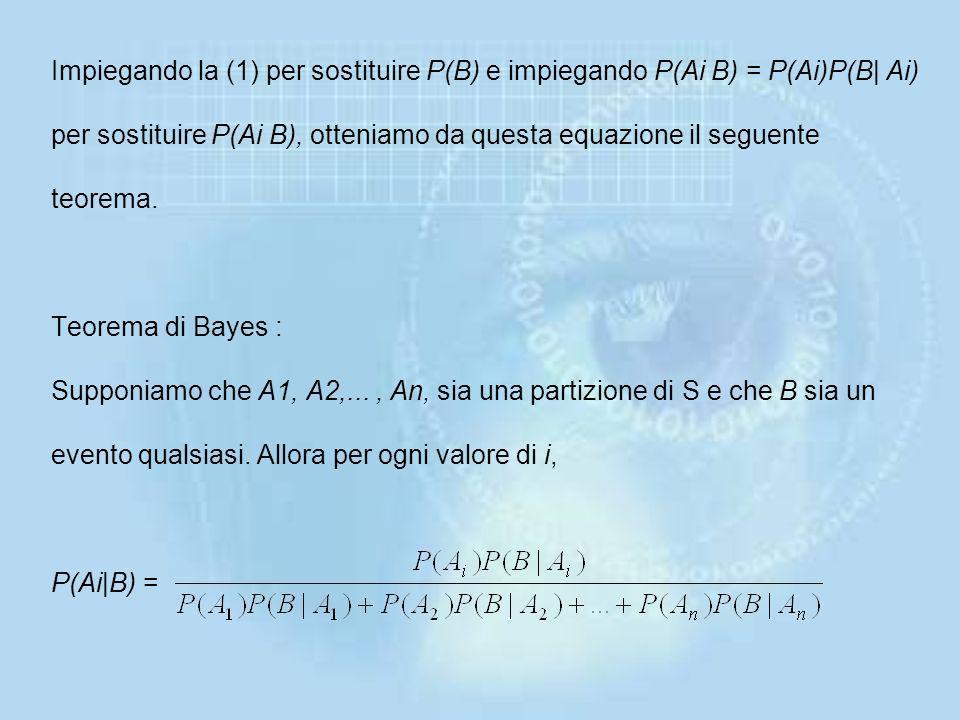 Impiegando la (1) per sostituire P(B) e impiegando P(Ai B) = P(Ai)P(B| Ai) per sostituire P(Ai B), otteniamo da questa equazione il seguente teorema.