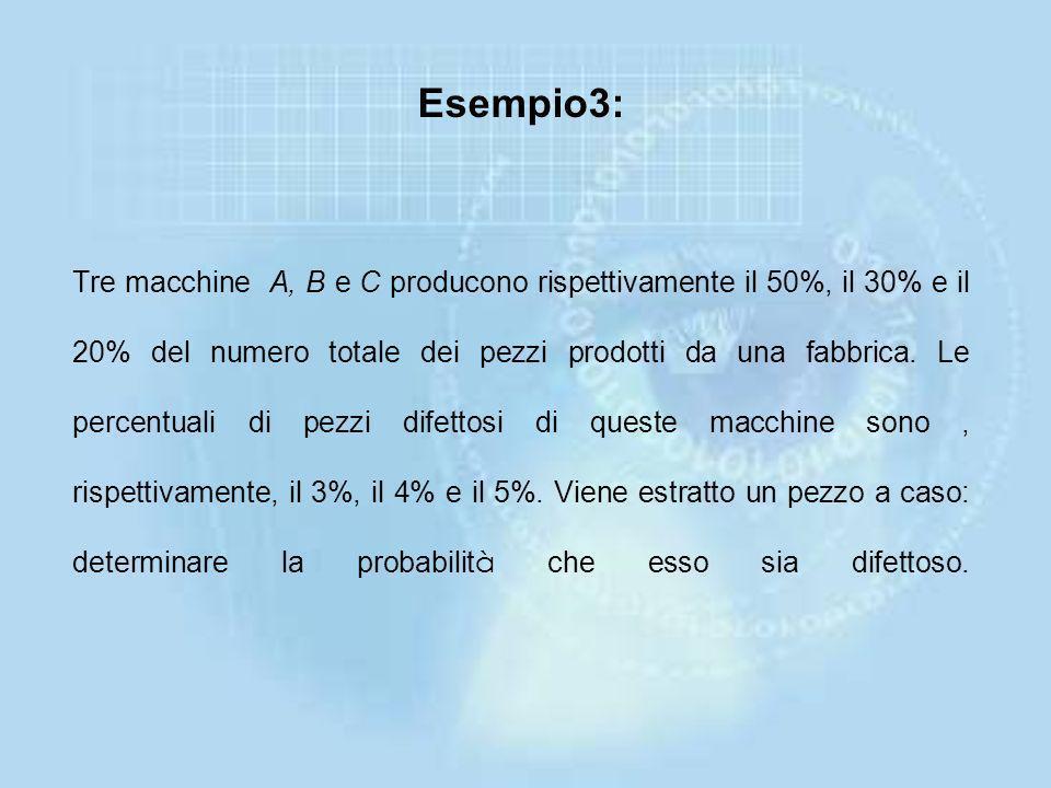 Esempio3: Tre macchine A, B e C producono rispettivamente il 50%, il 30% e il 20% del numero totale dei pezzi prodotti da una fabbrica.