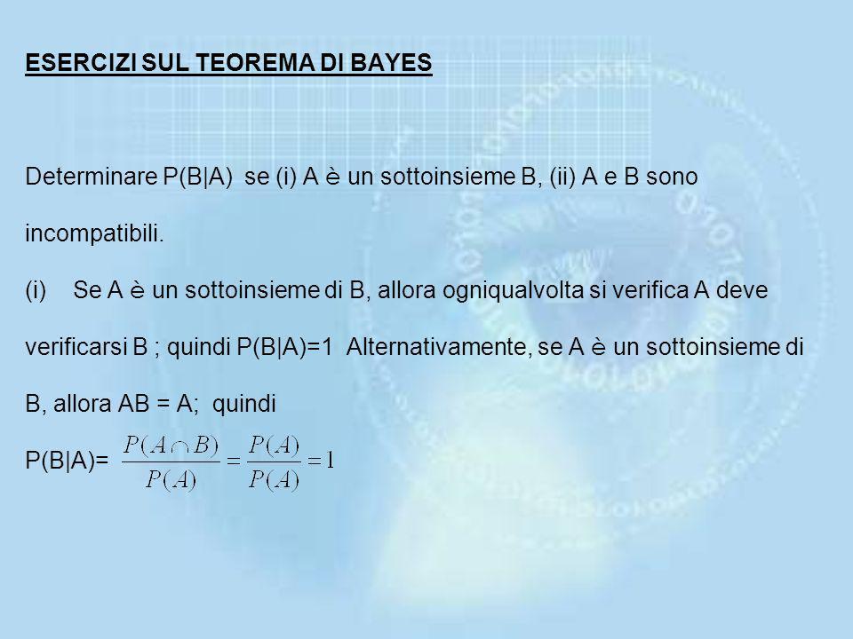 ESERCIZI SUL TEOREMA DI BAYES Determinare P(B|A) se (i) A è un sottoinsieme B, (ii) A e B sono incompatibili.