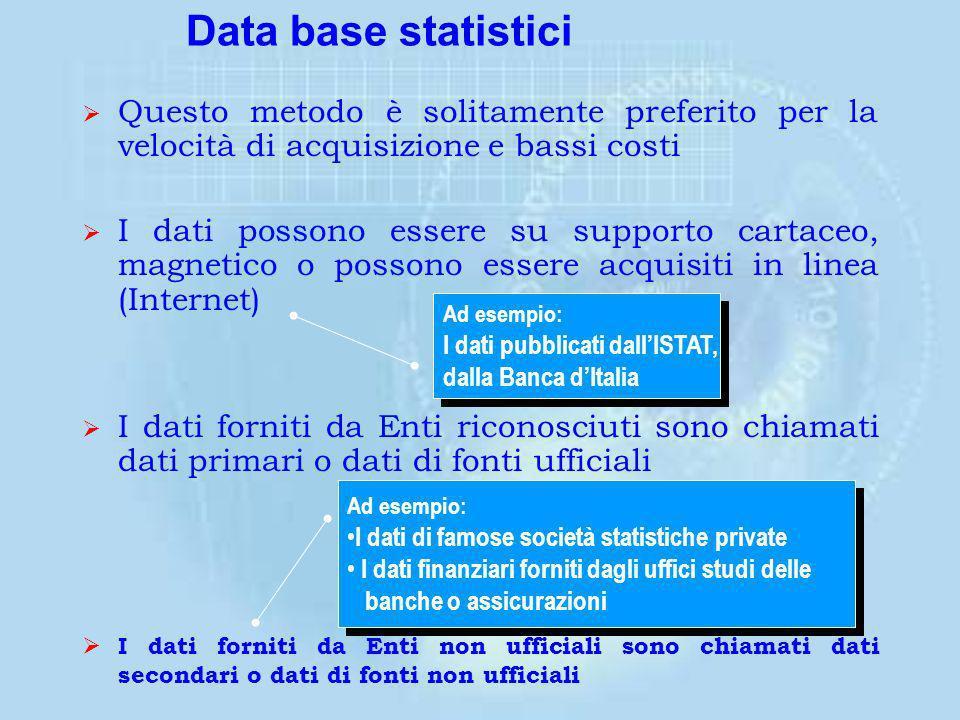 Data base statistici Questo metodo è solitamente preferito per la velocità di acquisizione e bassi costi.