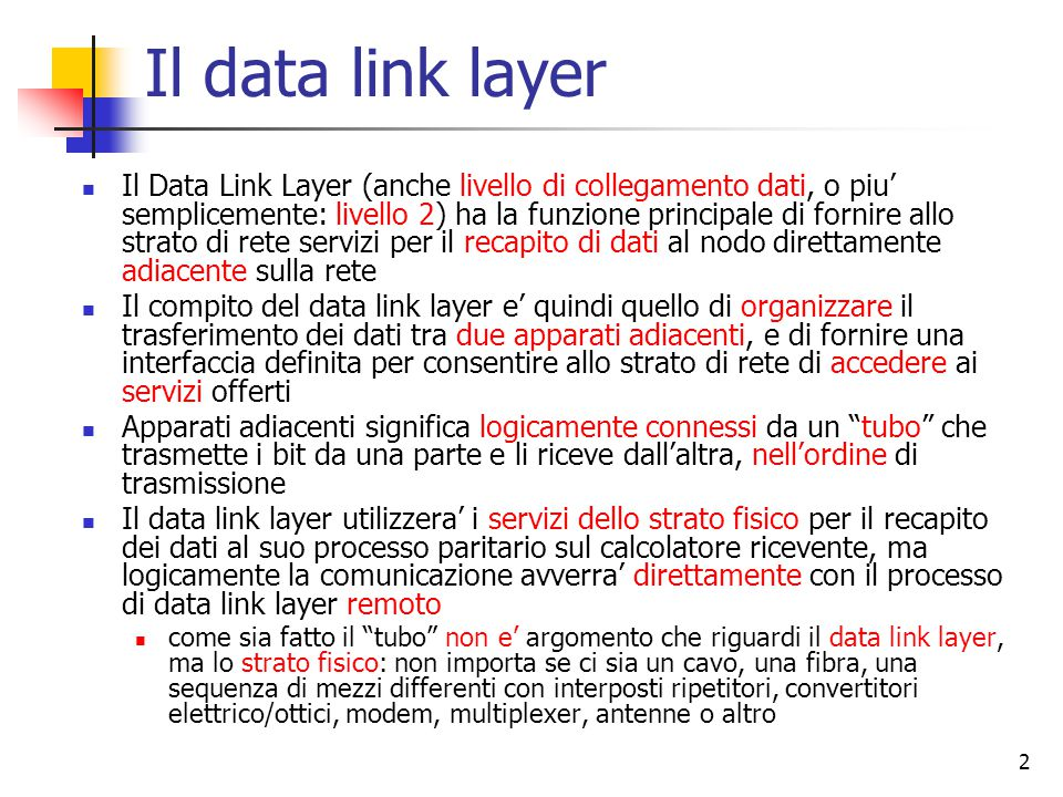 Il data link layer