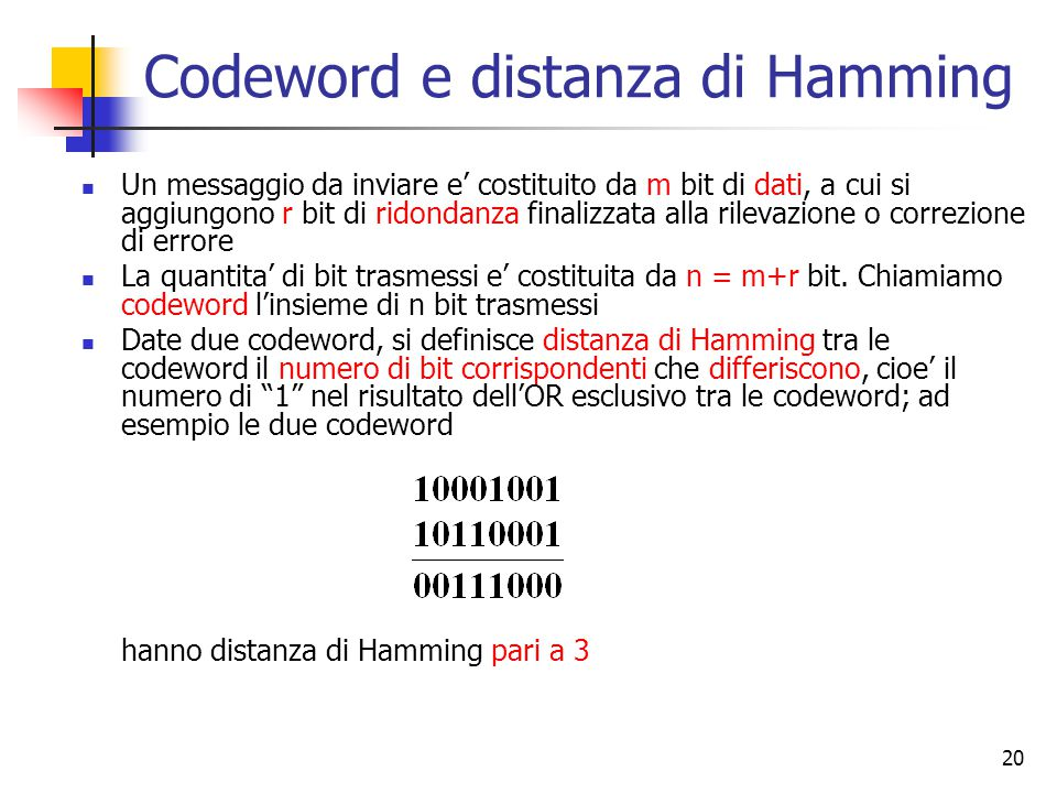 Codeword e distanza di Hamming