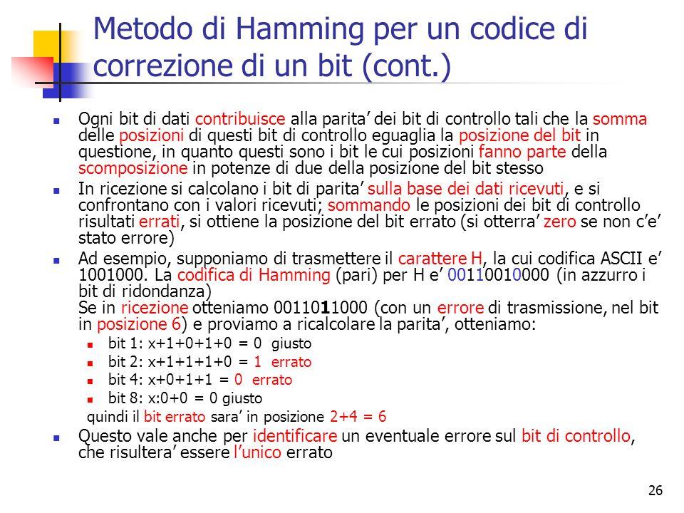 Metodo di Hamming per un codice di correzione di un bit (cont.)