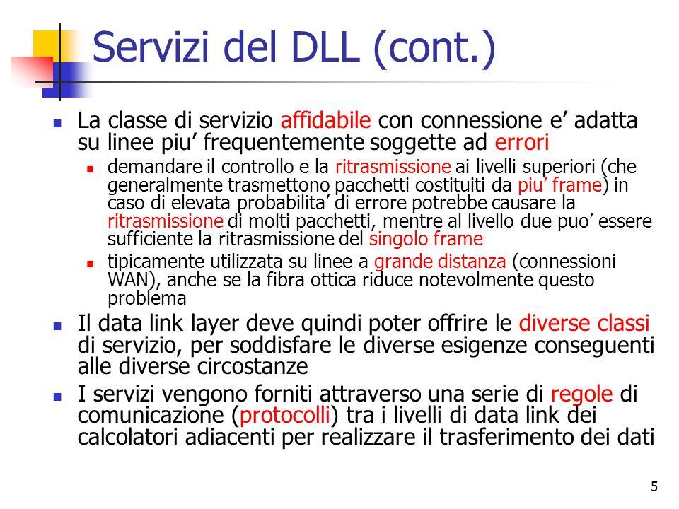 Servizi del DLL (cont.) La classe di servizio affidabile con connessione e' adatta su linee piu' frequentemente soggette ad errori.