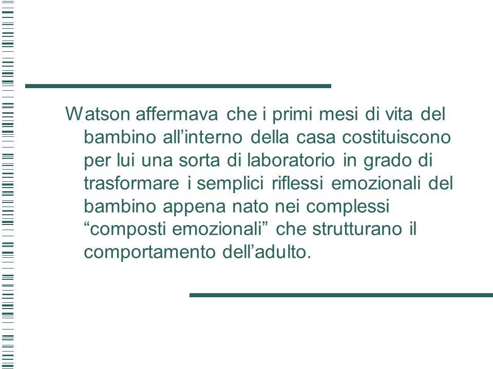 Watson affermava che i primi mesi di vita del bambino all'interno della casa costituiscono per lui una sorta di laboratorio in grado di trasformare i semplici riflessi emozionali del bambino appena nato nei complessi composti emozionali che strutturano il comportamento dell'adulto.