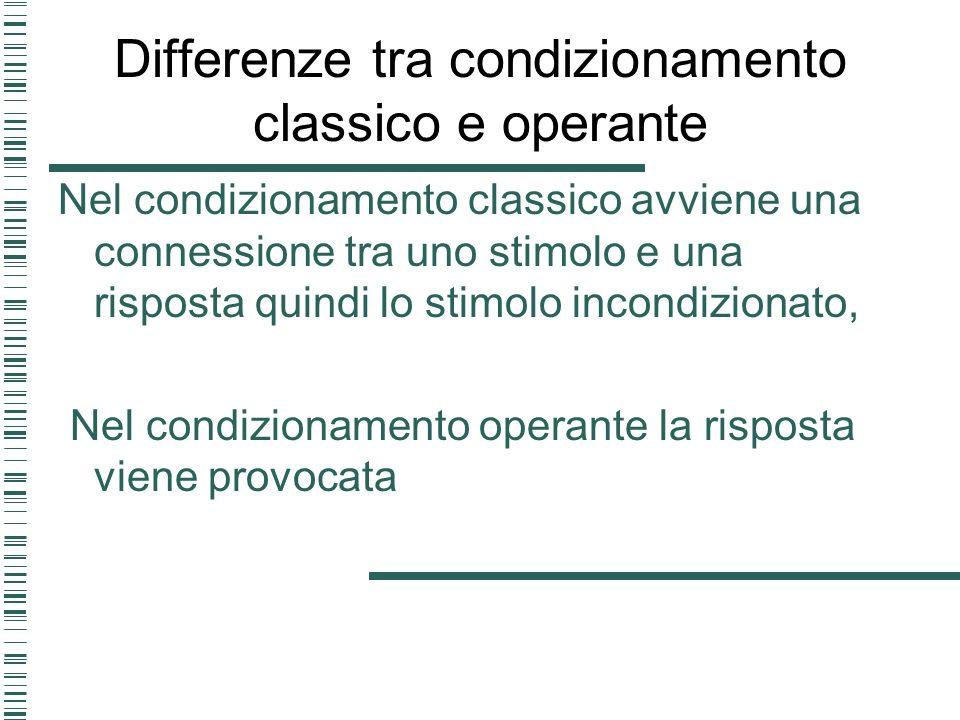 Differenze tra condizionamento classico e operante