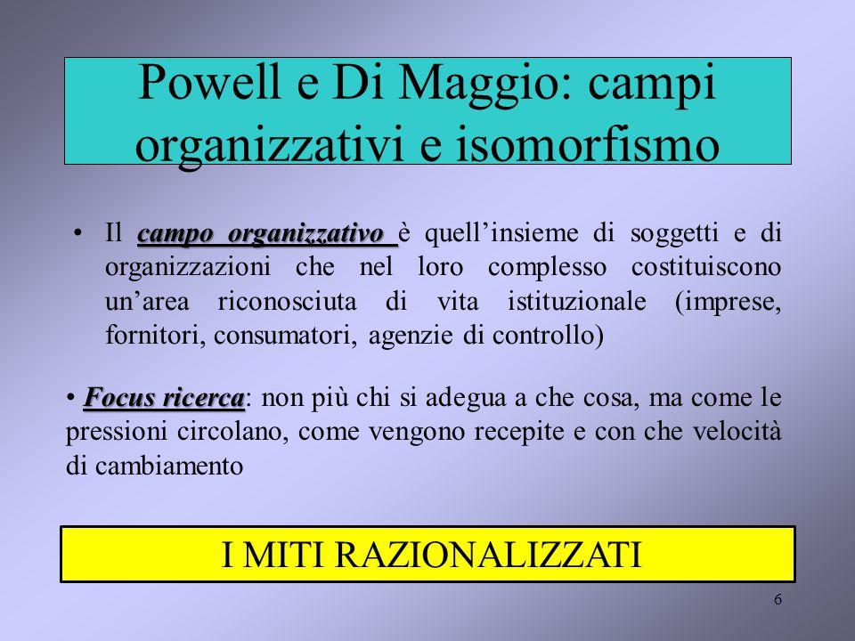 Powell e Di Maggio: campi organizzativi e isomorfismo