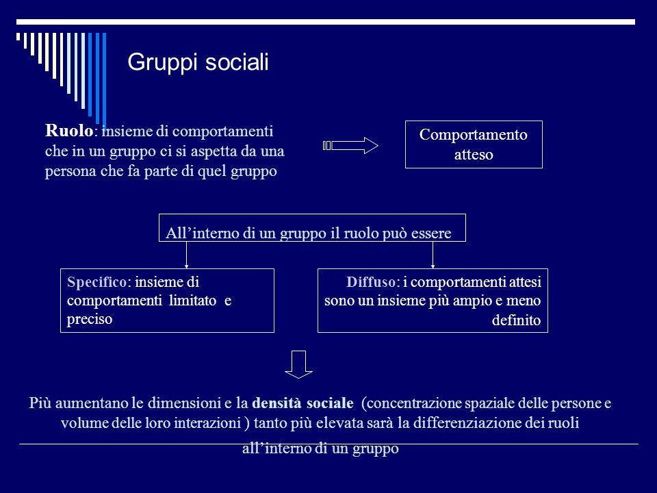 Gruppi sociali Ruolo: insieme di comportamenti che in un gruppo ci si aspetta da una persona che fa parte di quel gruppo.