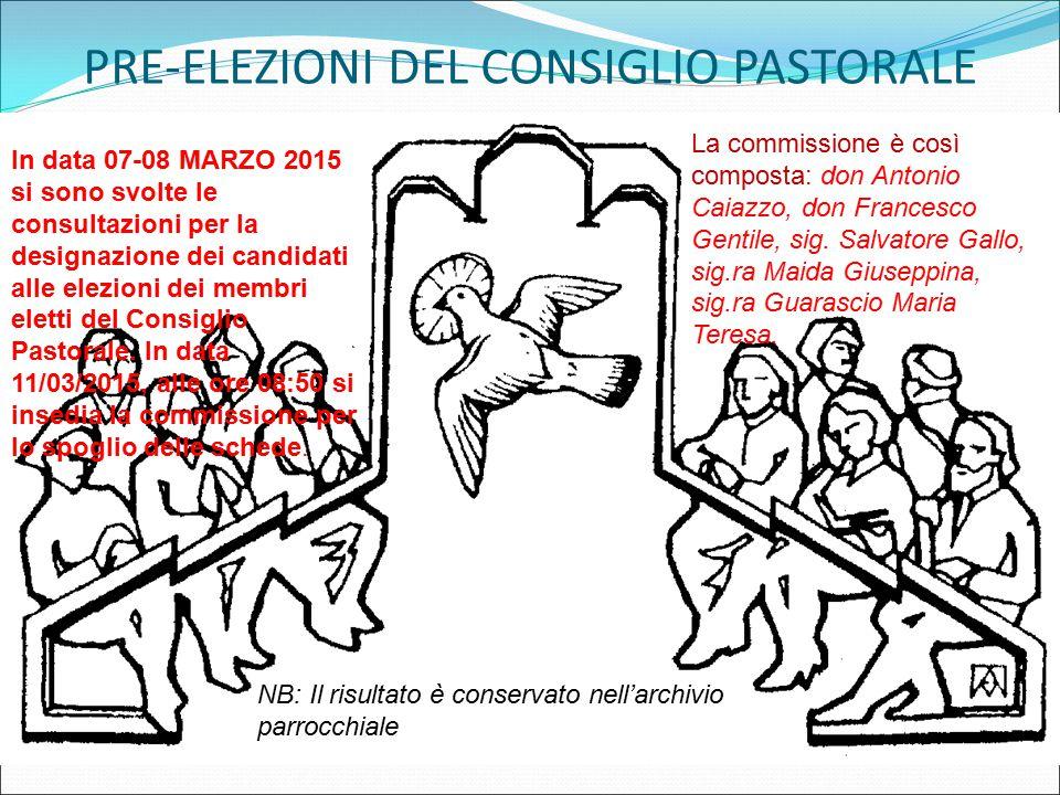PRE-ELEZIONI DEL CONSIGLIO PASTORALE