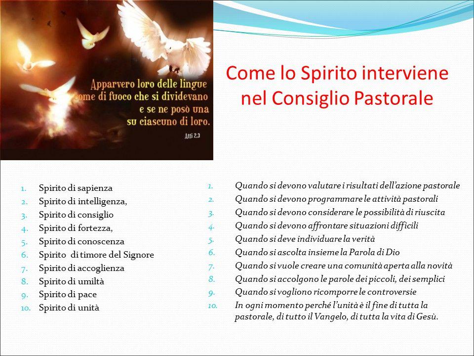 Come lo Spirito interviene nel Consiglio Pastorale