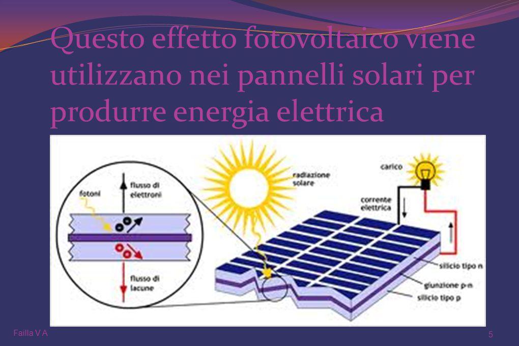 Questo effetto fotovoltaico viene utilizzano nei pannelli solari per produrre energia elettrica