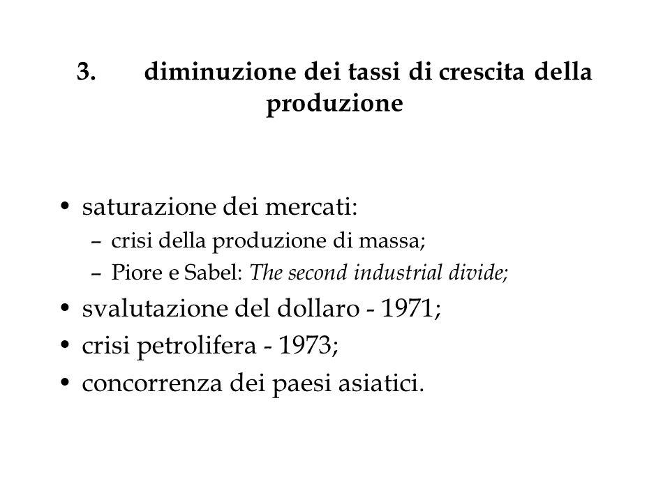 3. diminuzione dei tassi di crescita della produzione