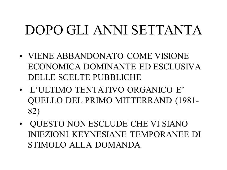 DOPO GLI ANNI SETTANTA VIENE ABBANDONATO COME VISIONE ECONOMICA DOMINANTE ED ESCLUSIVA DELLE SCELTE PUBBLICHE.