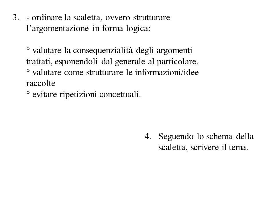- ordinare la scaletta, ovvero strutturare l'argomentazione in forma logica: