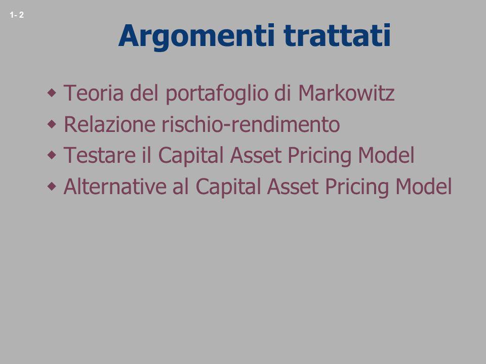 Argomenti trattati Teoria del portafoglio di Markowitz
