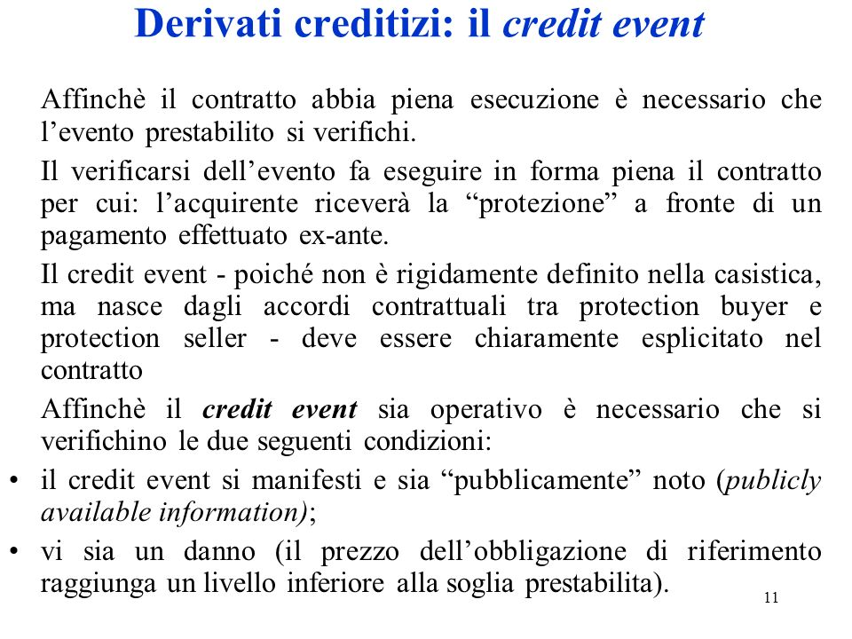 Derivati creditizi: il credit event