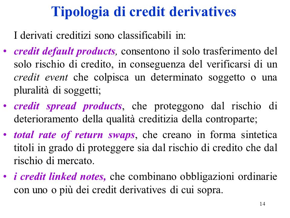 Tipologia di credit derivatives