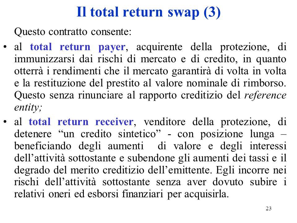 Il total return swap (3) Questo contratto consente: