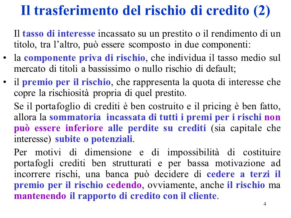 Il trasferimento del rischio di credito (2)