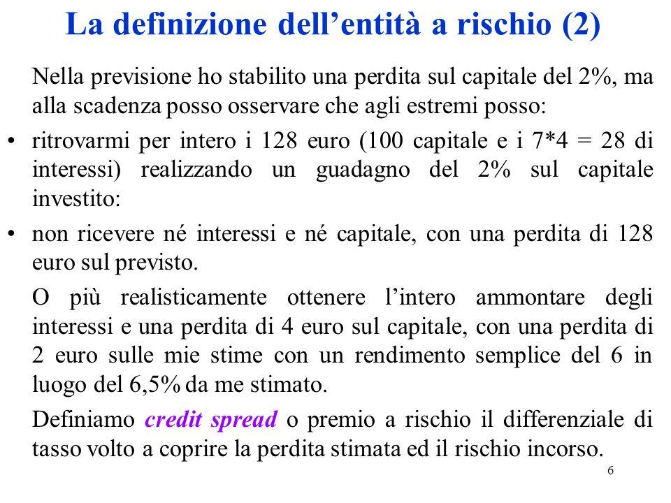 La definizione dell'entità a rischio (2)