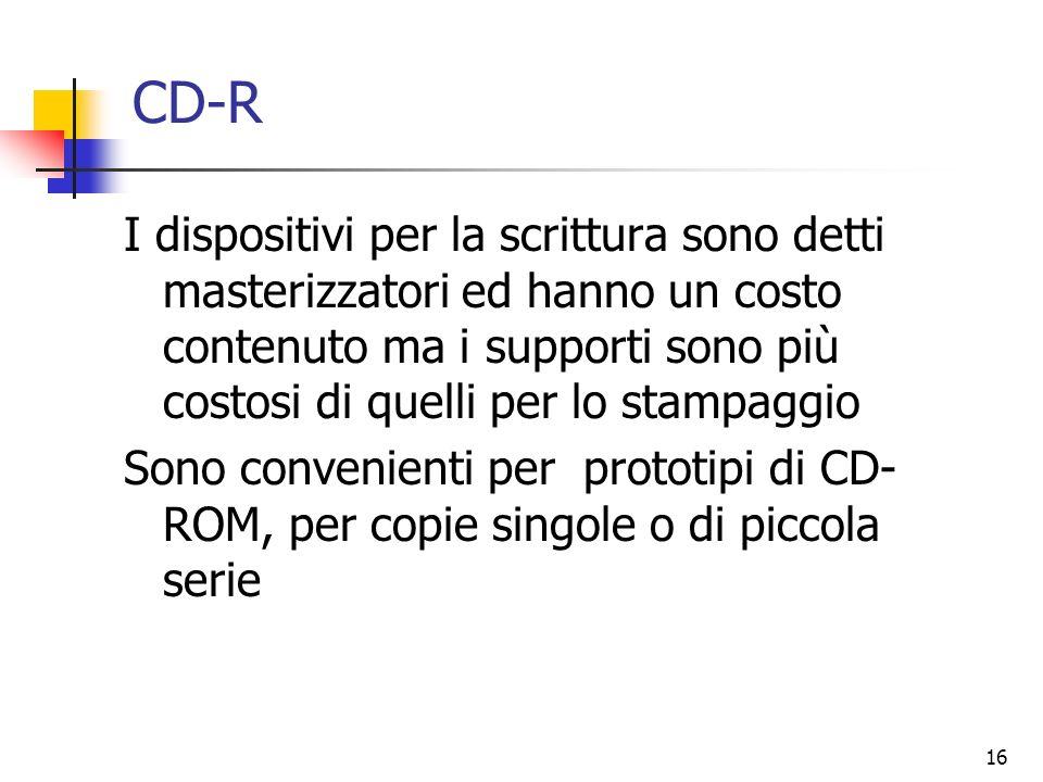 CD-R I dispositivi per la scrittura sono detti masterizzatori ed hanno un costo contenuto ma i supporti sono più costosi di quelli per lo stampaggio.
