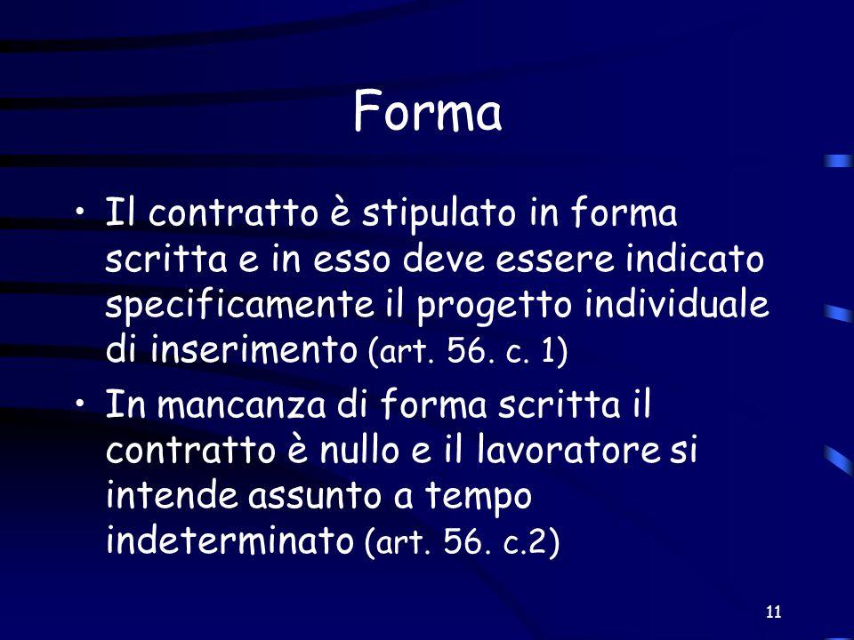 Forma Il contratto è stipulato in forma scritta e in esso deve essere indicato specificamente il progetto individuale di inserimento (art. 56. c. 1)
