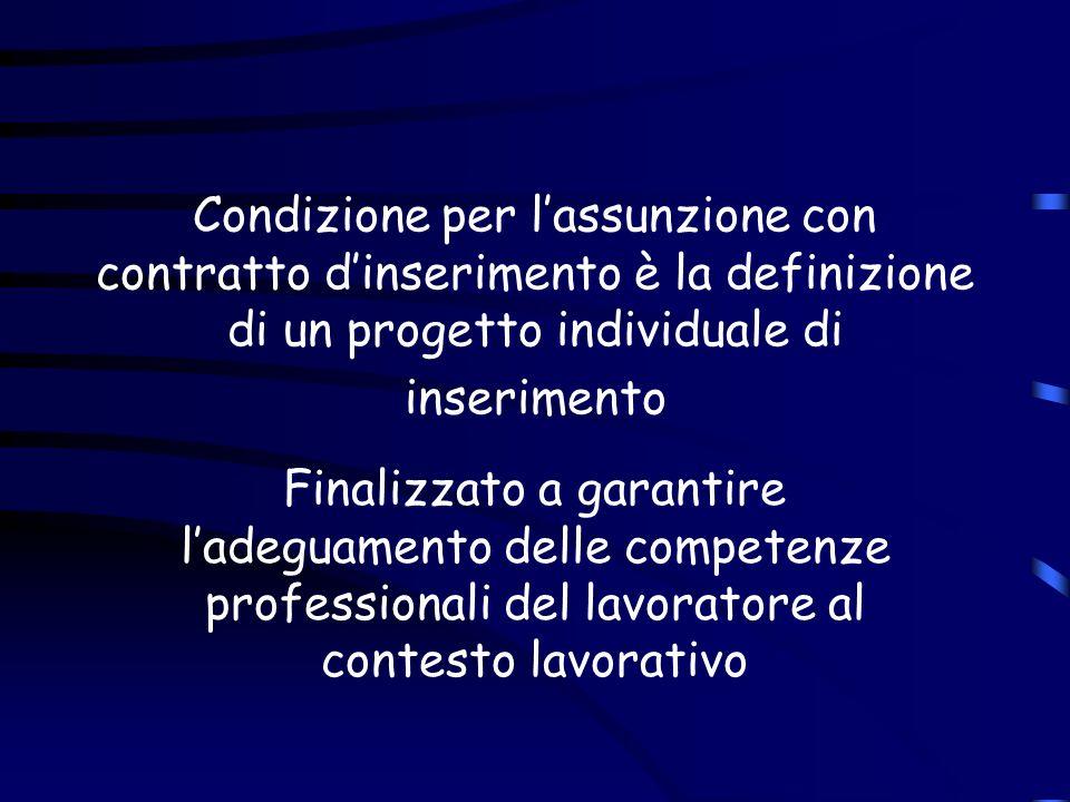 Condizione per l'assunzione con contratto d'inserimento è la definizione di un progetto individuale di inserimento