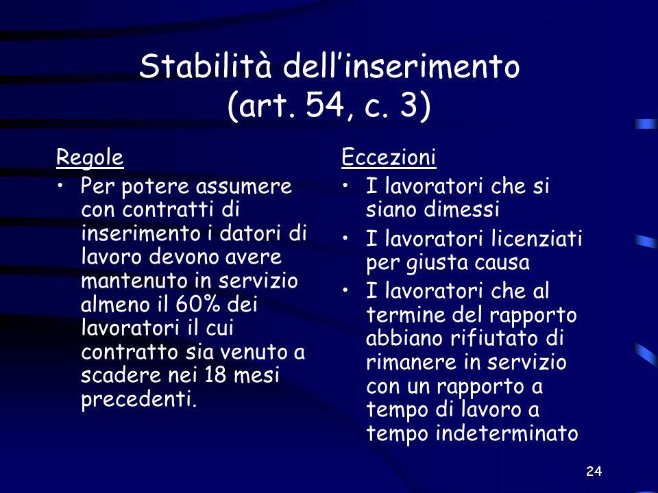 Stabilità dell'inserimento (art. 54, c. 3)