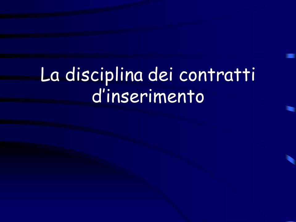 La disciplina dei contratti d'inserimento
