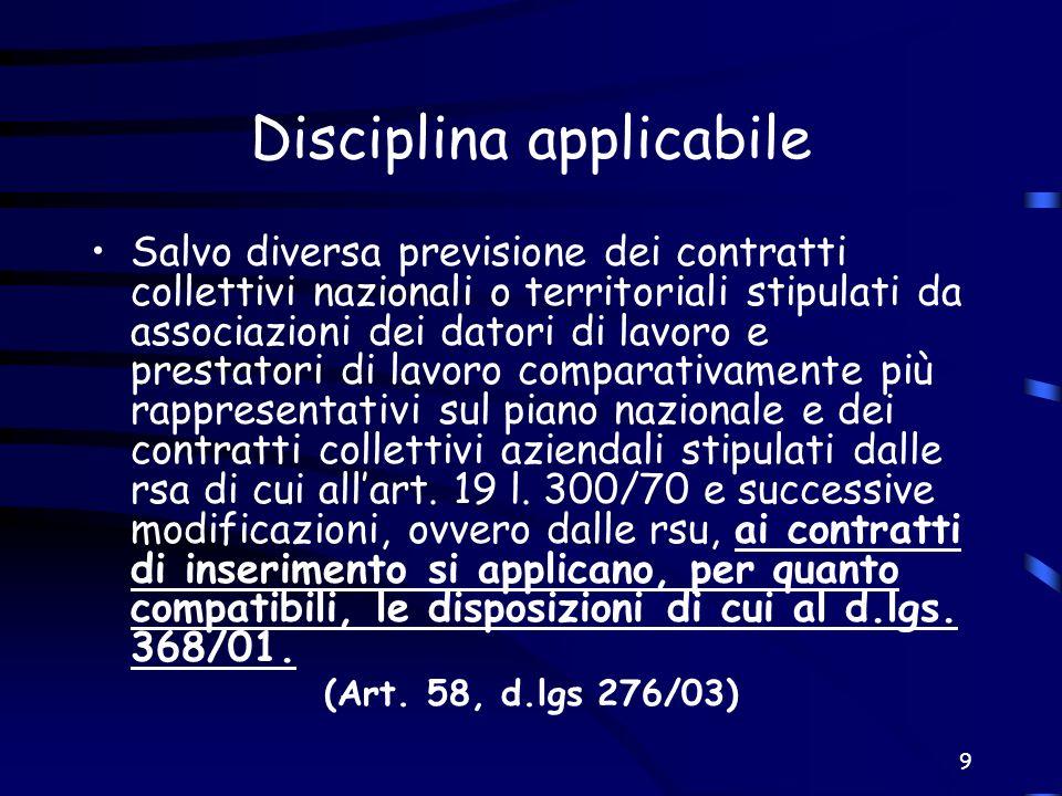 Disciplina applicabile