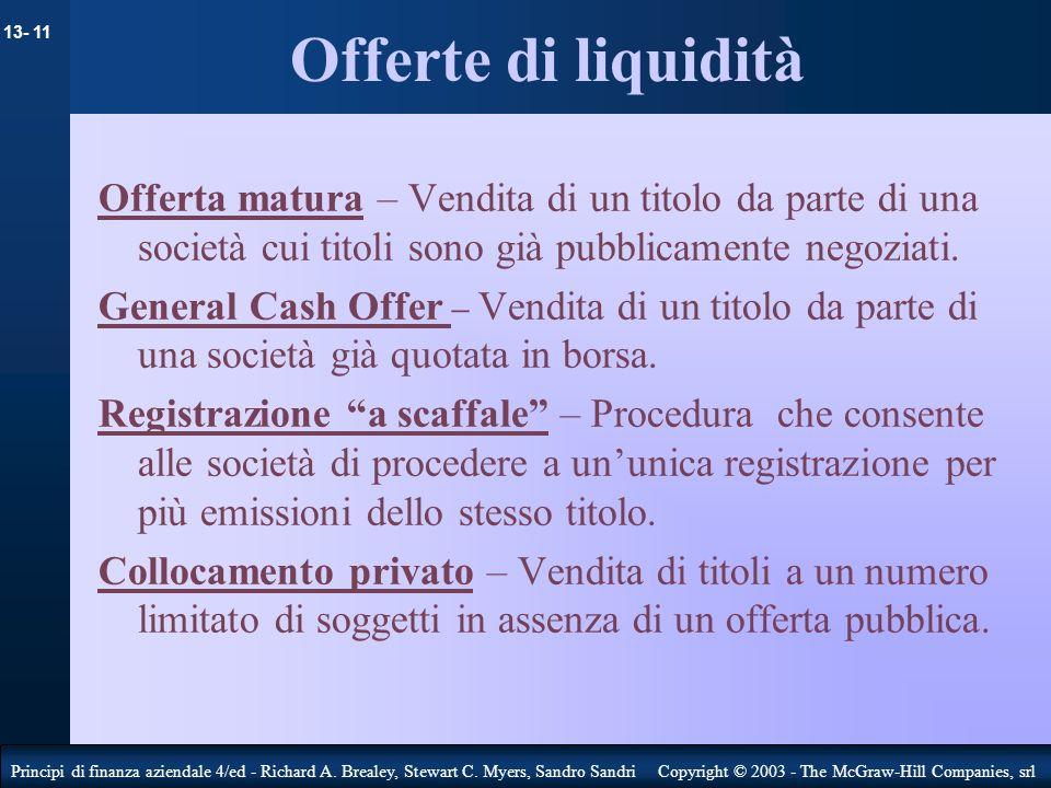 Offerte di liquidità Offerta matura – Vendita di un titolo da parte di una società cui titoli sono già pubblicamente negoziati.