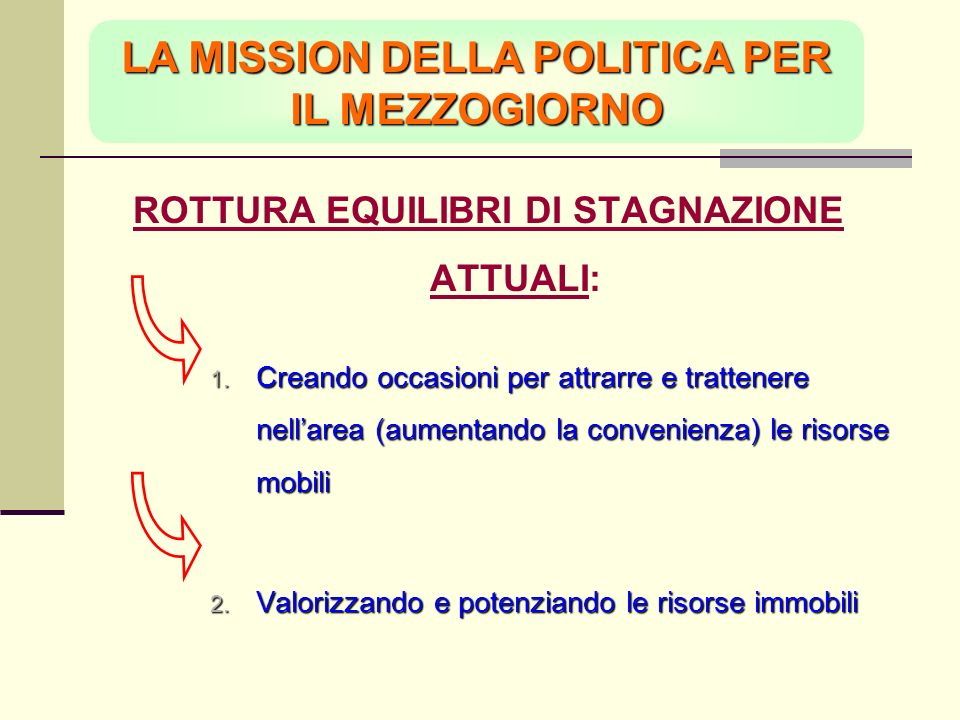 LA MISSION DELLA POLITICA PER IL MEZZOGIORNO