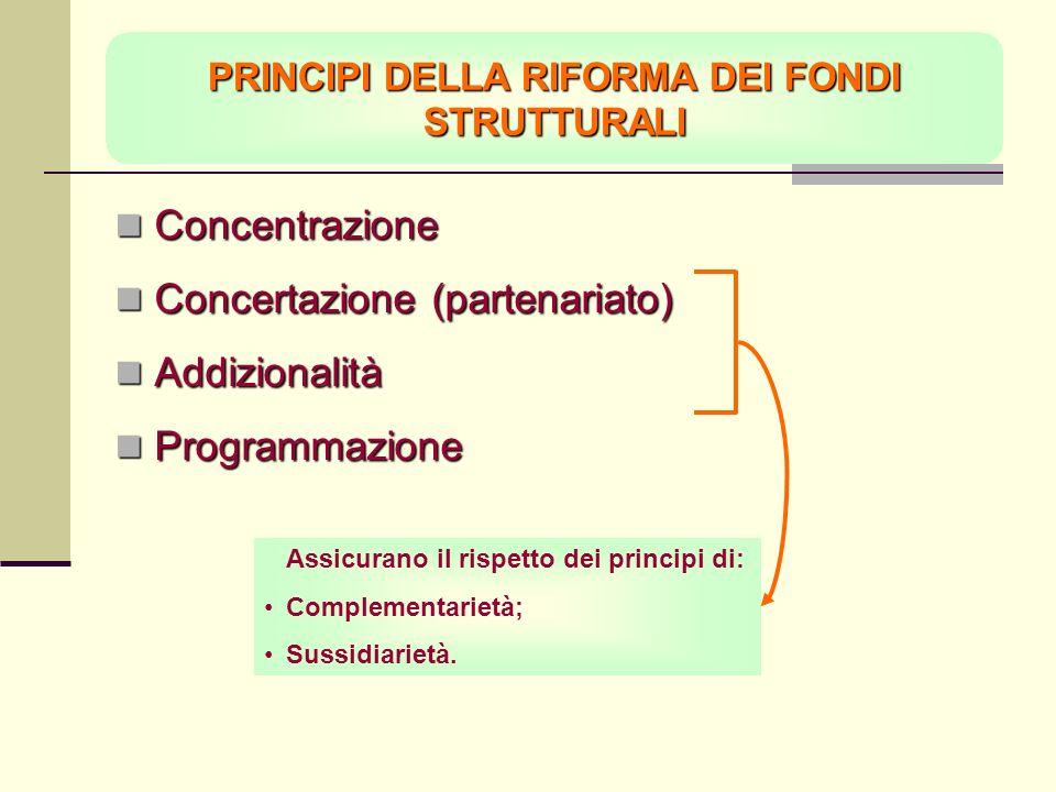 PRINCIPI DELLA RIFORMA DEI FONDI STRUTTURALI