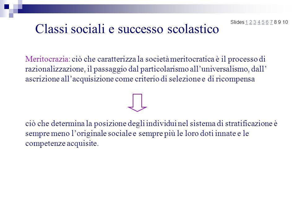 Classi sociali e successo scolastico