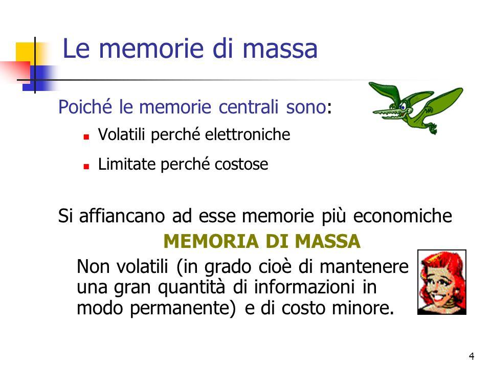 Le memorie di massa Poiché le memorie centrali sono:
