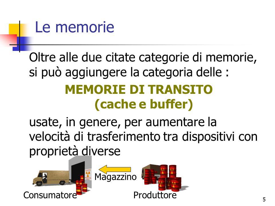 MEMORIE DI TRANSITO (cache e buffer)